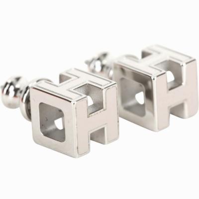 HERMES H LOGO 經典立體方型設計耳環(栗棕色x銀)
