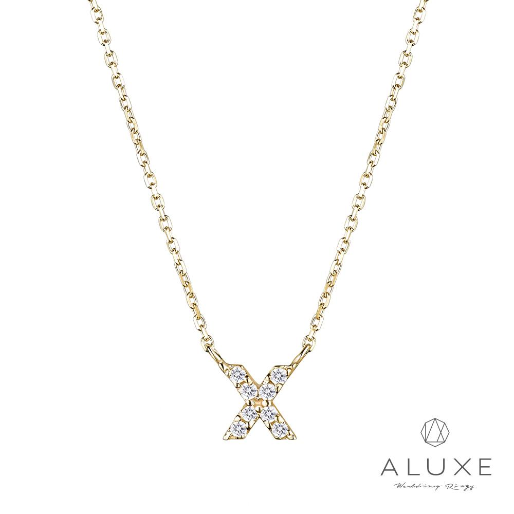 ALUXE亞立詩Alphabet系列10K鑽石項鍊-X