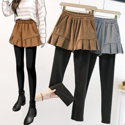 厚實舒適加絨保暖假兩件燈芯絨靴褲L-4XL(共二色)KVOLL
