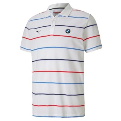 PUMA-男性BMW系列MMS條紋短袖Polo衫-白色-歐規