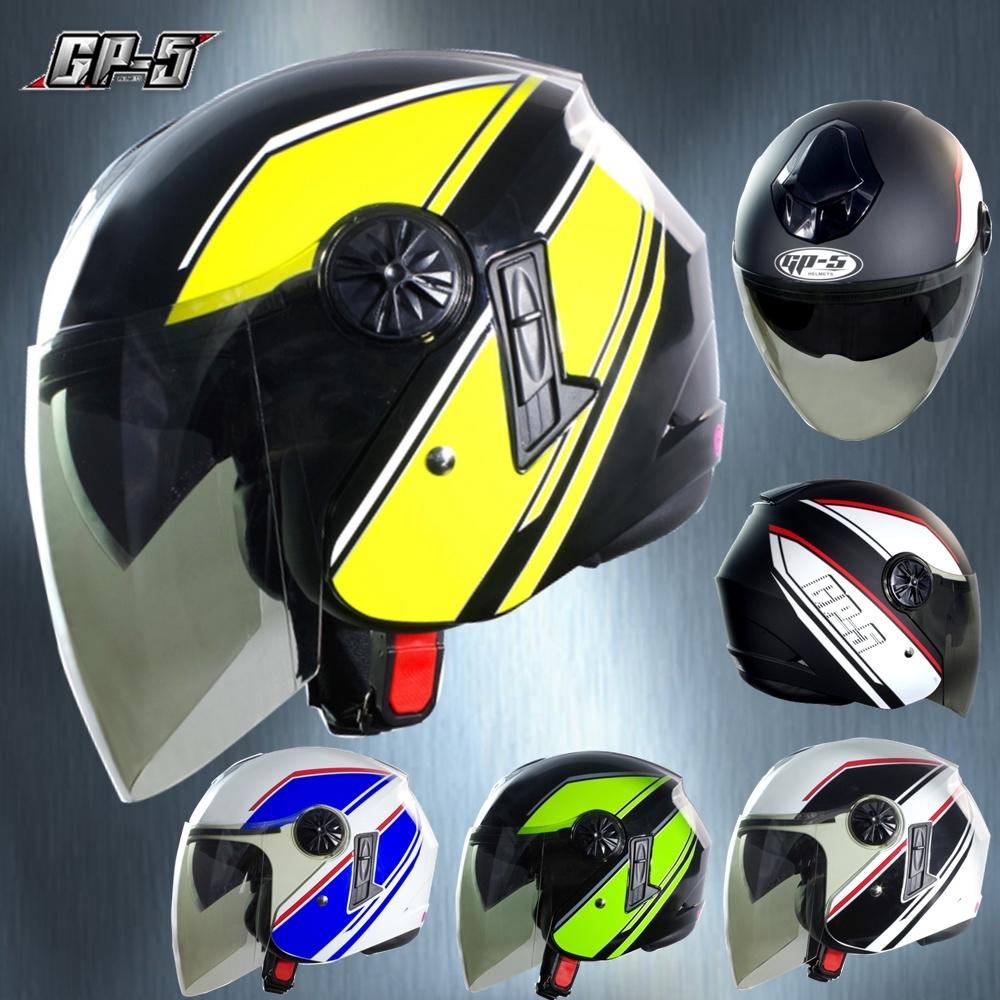 【GP-5】簡約 安全帽 雙鏡片│導流通風設計│機車│內襯│開放式安全帽│內墨鏡 (消光黑白)