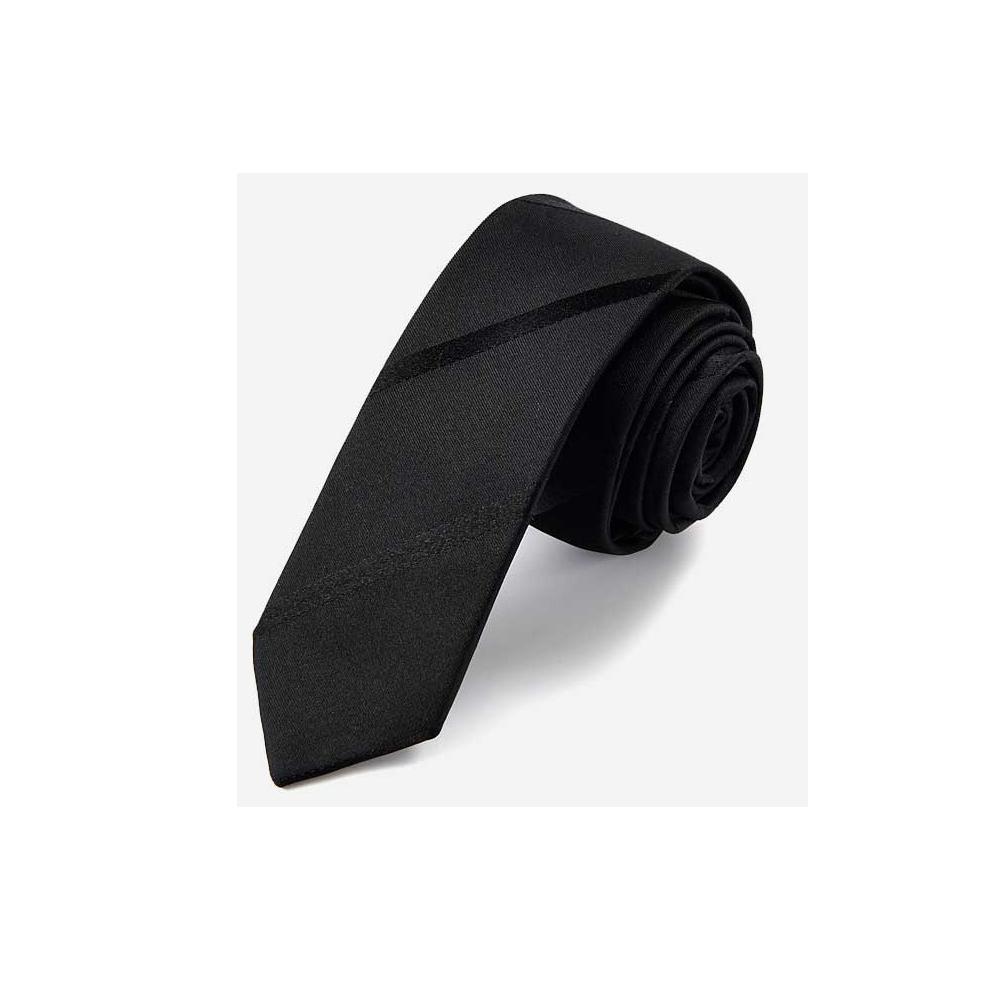 拉福   斜紋窄版5cm領帶手打領帶 (黑色)
