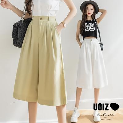 UGIZ-顯瘦輕熟個性簡約鬆緊腰斜插口袋造型褲-3色(M-XL)