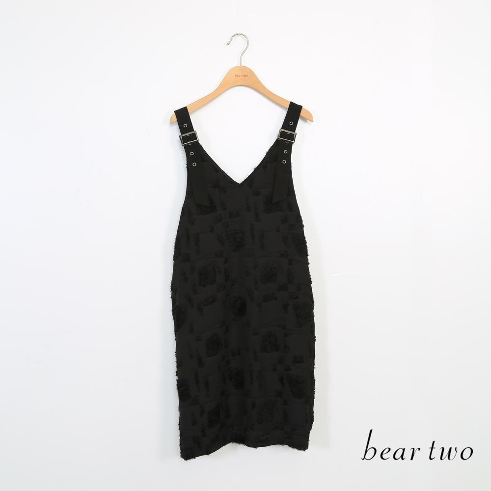 beartwo-短毛休閒吊帶洋裝-黑