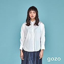 gozo 個性波浪拼接造型襯衫(白色)