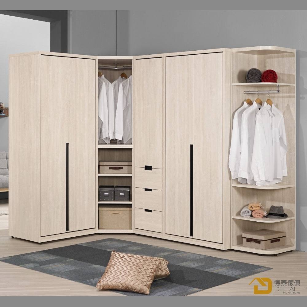 D&T 德泰傢俱 Quuntis8.4尺組合衣櫥(全組)  寬254.5X深163.5X高202(公分)