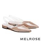 低跟鞋 MELROSE 時尚金屬麂皮拼接透明後繫帶低跟鞋-金