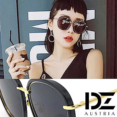DZ 潮型層線框 抗UV太陽眼鏡造型墨鏡(黑框灰片)