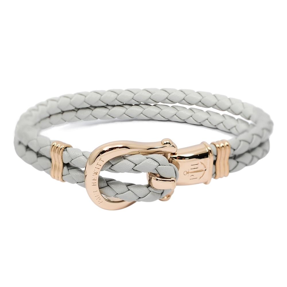 PAUL HEWITT 德國出品 Phinity 灰色皮革編織 玫瑰金色錨鍊釦鎖 手環手鍊