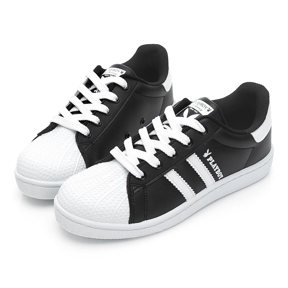 PLAYBOY條紋拼接貝殼小白鞋-黑-Y6228CC