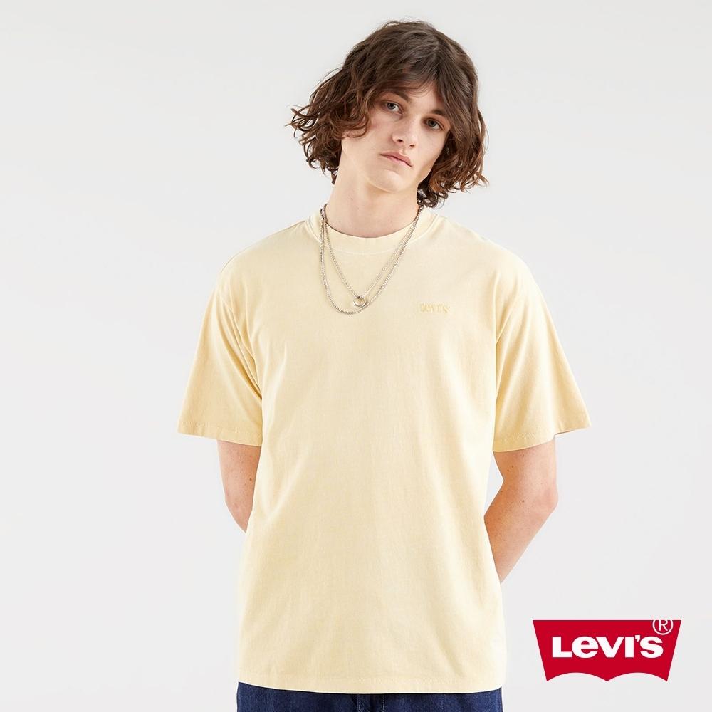 Levis 男款 短袖T恤 / 寬鬆休閒版型 / 精工復古刺繡Logo / 漂染黃 / 220GSM厚棉