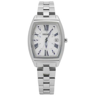 SEIKO 精工 LUKIA 太陽能 電波 日期 鈦金屬手錶-銀色/25mm