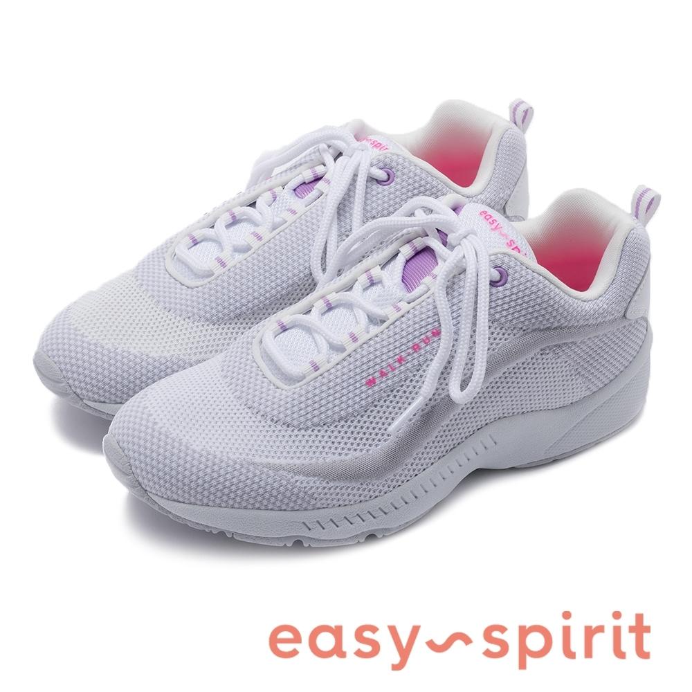 Easy Spirit-seROMY17 百搭必備 輕甜配色透氣綁帶休閒鞋-粉白