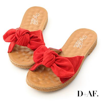 D+AF 可愛無敵.立體蝴蝶結平底涼拖鞋*紅