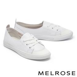 休閒鞋 MELROSE 潮流時尚全真皮綁帶造型厚底休閒鞋-白