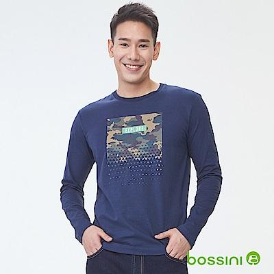 bossini男裝-印花長袖T恤05海軍藍