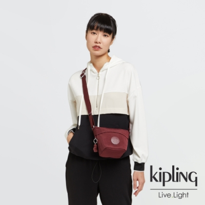 Kipling 迷人微醺紅大開口簡約肩背包-SONJA MINI