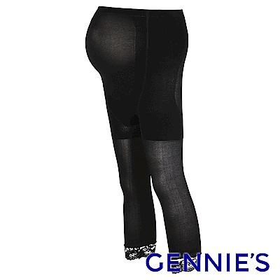 Gennies專櫃-孕婦專用彈性薄蕾絲時尚七分襪(GM43)