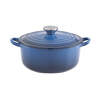 LE CREUSET 琺瑯鑄鐵圓鍋20cm-琉璃藍-鋼頭