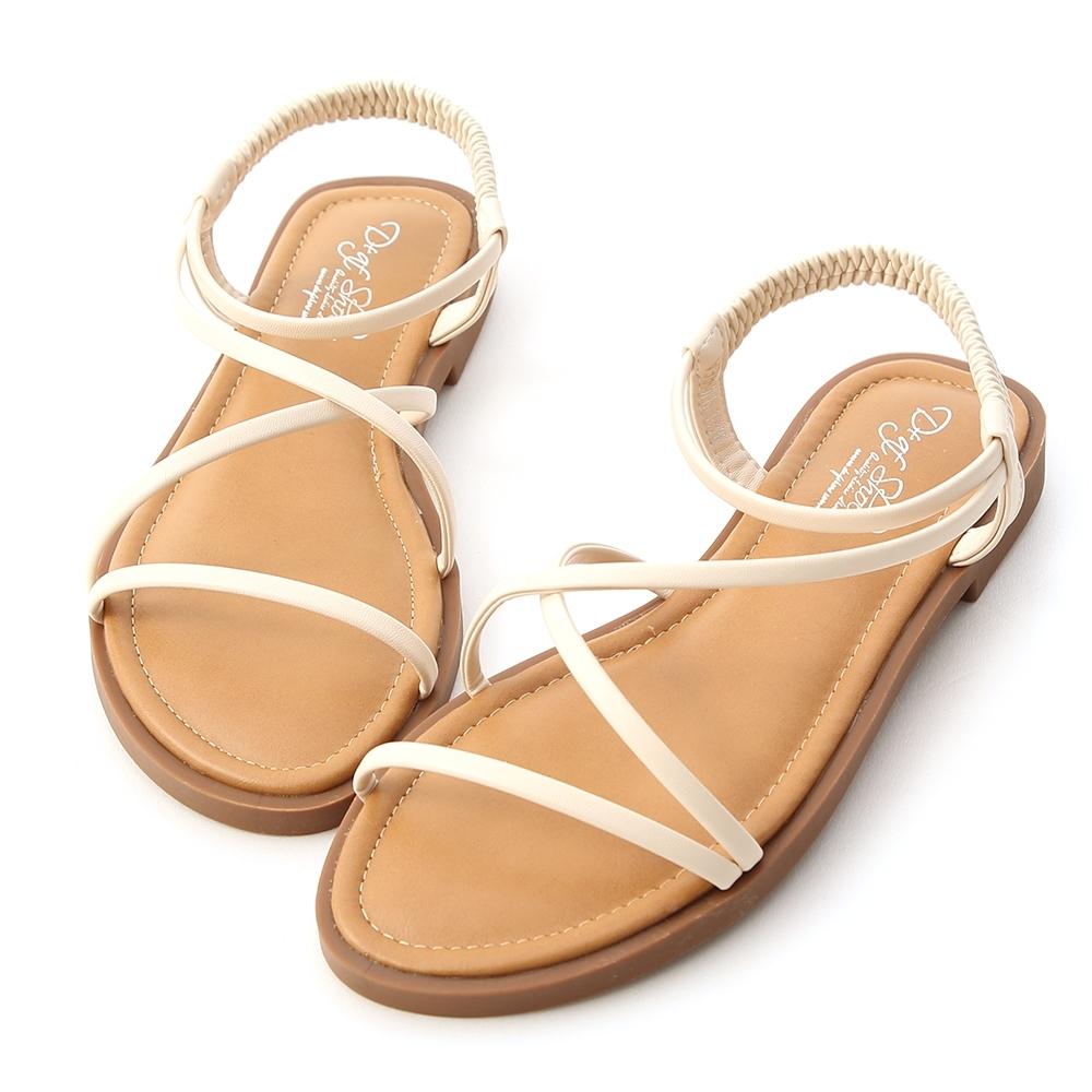 D+AF 清涼一夏.交叉細帶平底涼鞋*白