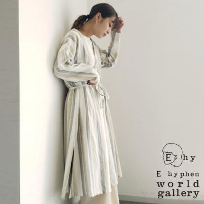E hyphen 配色直條紋綁帶開襟洋裝