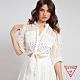 GUESS-女裝-氣質簍空蕾絲綁帶七分袖襯衫-白 原價1990 product thumbnail 1
