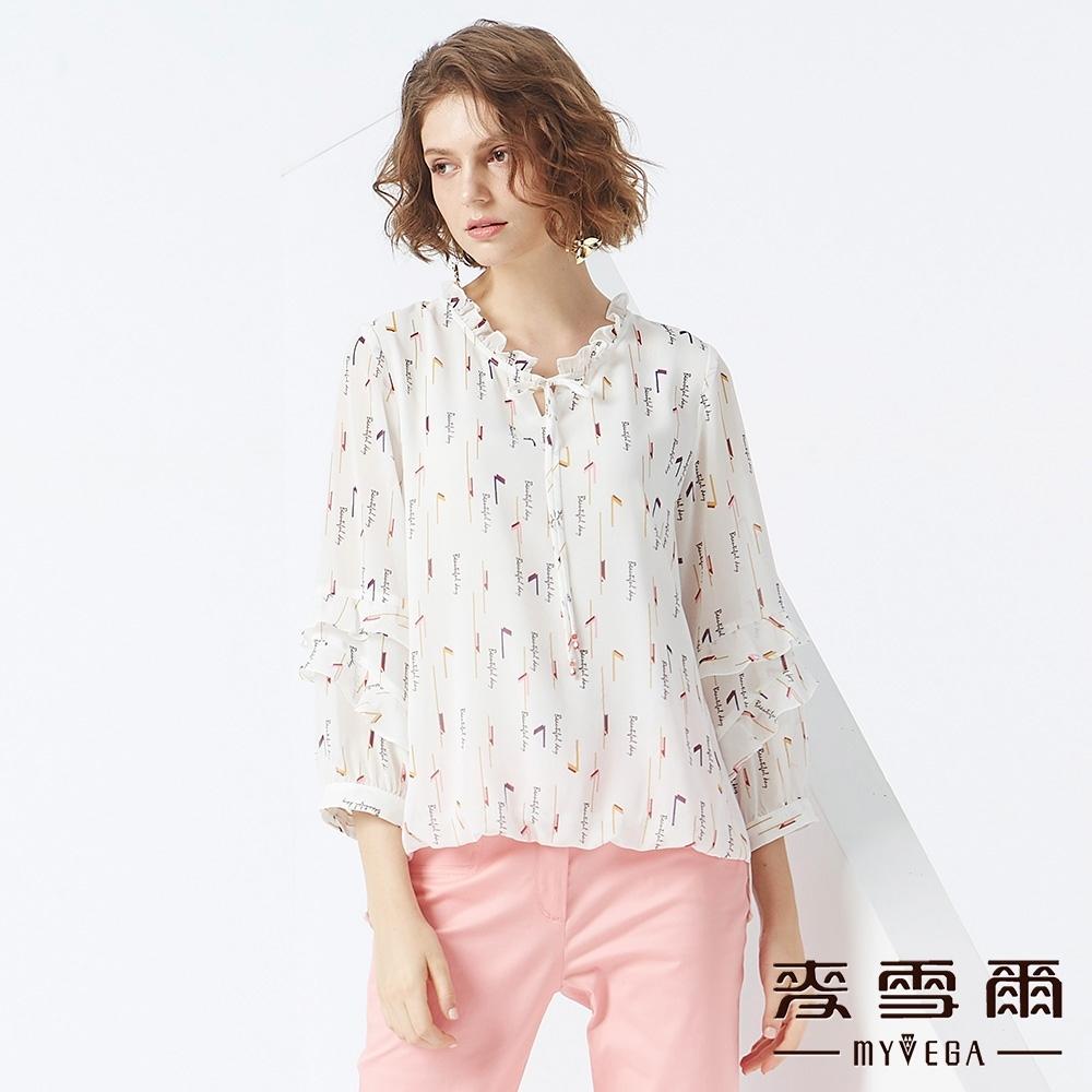 MYVEGA麥雪爾 層次造型袖雪紡上衣-白