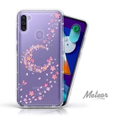 Meteor Samsung Galaxy M11 奧地利水鑽彩繪防摔殼 - 櫻月
