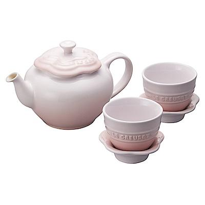 LE CREUSET瓷器花型茶具組(一壺二盞) (貝殼粉)
