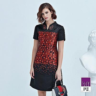 ILEY伊蕾 織蔥緹花配色旗袍領洋裝(黑)