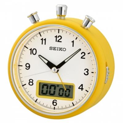 SEIKO精工 計時碼錶造型鬧鐘(QHE114E)