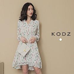 東京著衣-KODZ ONNI最愛印花縮腰V領雪紡長袖洋裝-S.M(共一色)