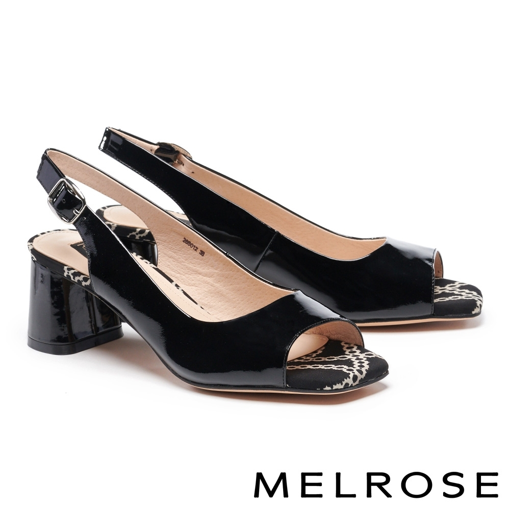 高跟鞋 MELROSE 魅力風采鍊條花布造型魚口高跟鞋-黑