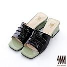 【SM】復古時尚系列--歐美時尚簡約撞色方頭中低粗跟拖鞋(2色)