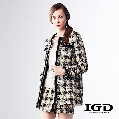 IGD英格麗 小香風千鳥格紋滾邊毛呢大衣外套-米色