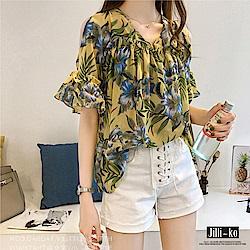 Jilli-ko 韓版垂感荷葉邊露肩上衣- 黃/藍