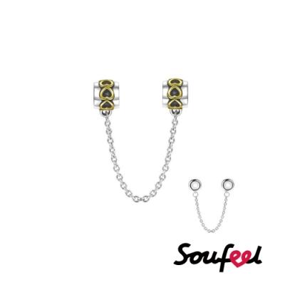 SOUFEEL索菲爾 925純銀珠飾  鎏金 安全鏈