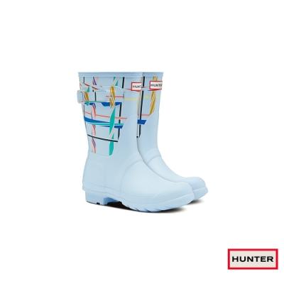 HUNTER - 女鞋-霧面短靴 - 天空藍印花