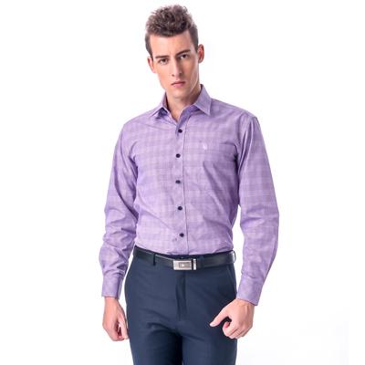 金‧安德森 紫色寬格窄版長袖襯衫