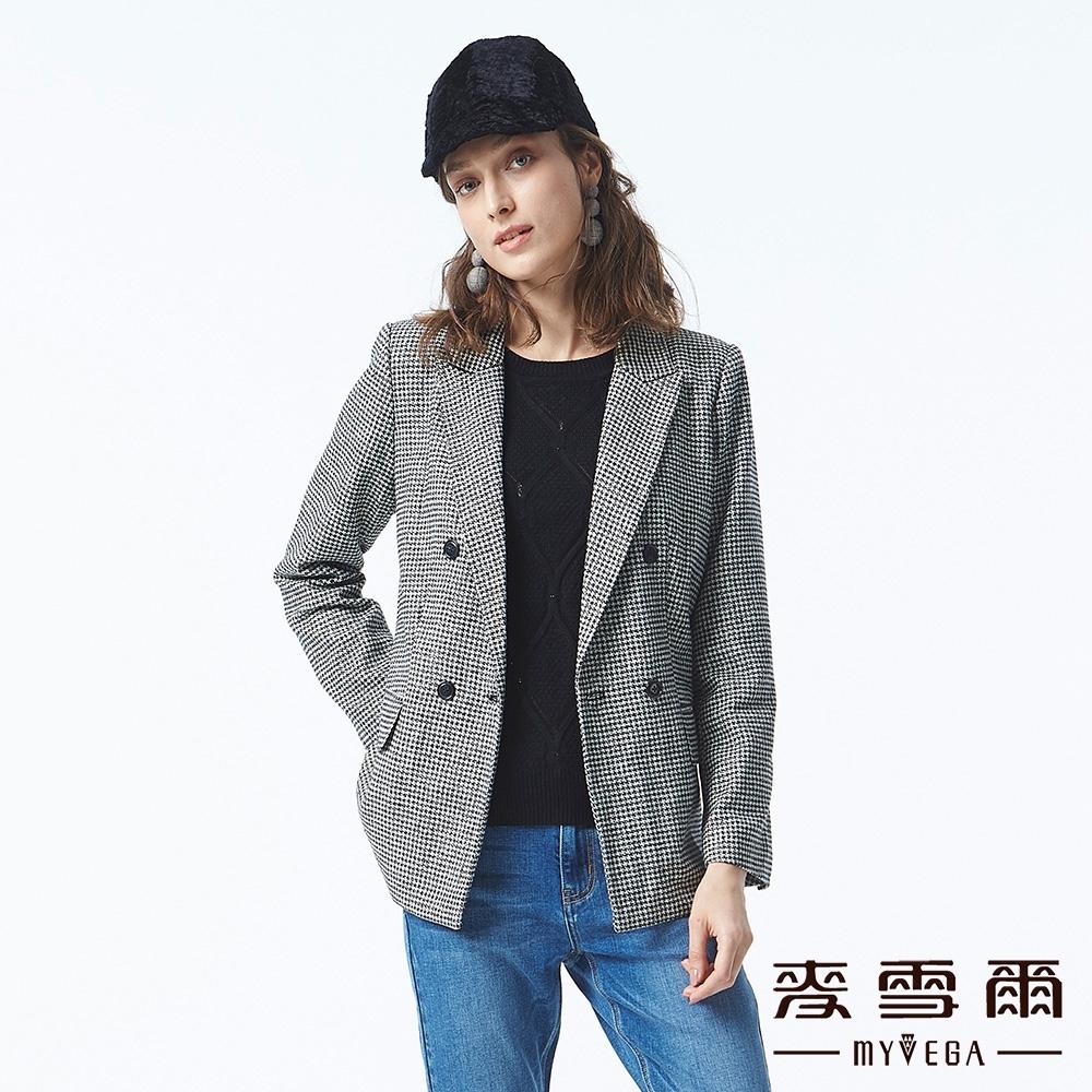 麥雪爾 羊毛溫暖千鳥格長版西裝外套-黑