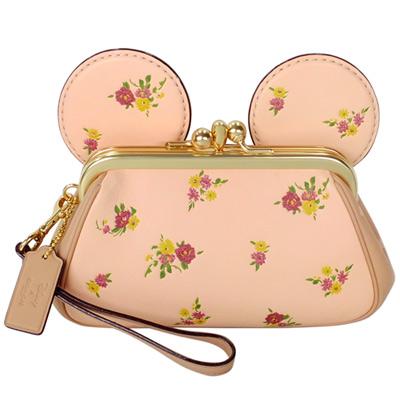 COACH DISNEY聯名粉色花紋全皮MINNIE耳朵手提掛小包 @ Y!購物