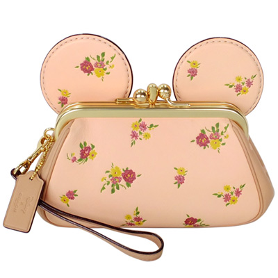 COACH DISNEY聯名粉色花紋全皮MINNIE耳朵手提掛小包