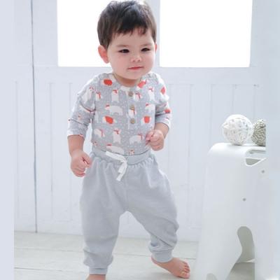 【Deux Filles有機棉】棉絨兒童居家休閒運動褲-灰色