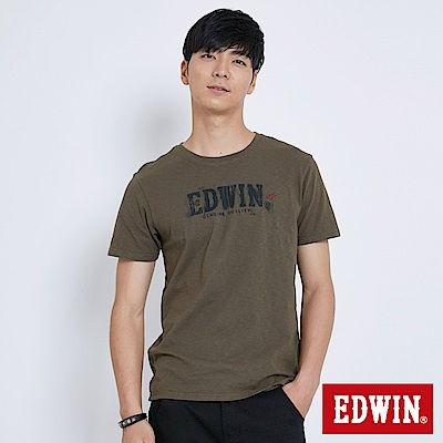 EDWIN 斑駁LOGO印花T恤-男-苔綠