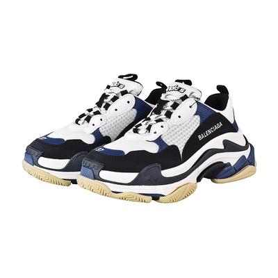 BALENCIAGA TRIPLE S刺繡LOGO拼接設計女款老爹鞋(深藍x黑x白)