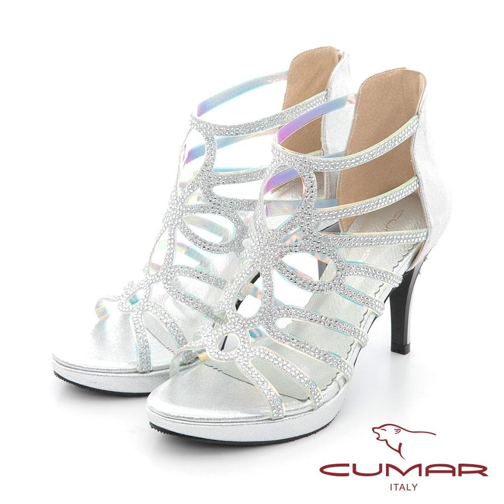 【CUMAR】雷射鏤空排鑽防水台高跟涼鞋-銀