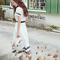 IREAL 網紗拼接設計款傘襬長裙(附腰帶
