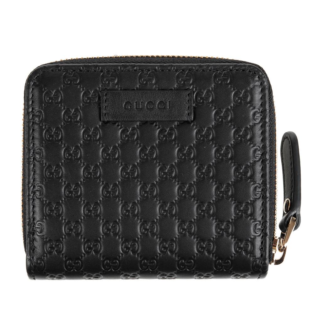 GUCCI經典Guccissima系列mini雙G壓紋LOGO牛皮零錢短夾 (黑色)GUCCI