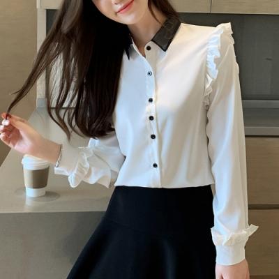 ALLK 荷葉邊雪紡衫上衣 白色(尺寸M-XL)