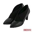 BESO 氣質焦點 V口顯瘦美型細跟踝靴~黑